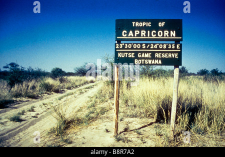Tropic of Capricorn Sign board khutse game reserve - Stock Image