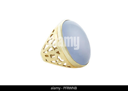 Gem Chalcedony Set Ring 14-Carat Yellow Gold - Stock Image