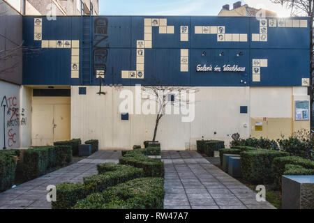 Berlin, Kreuzberg. Gallery in the washhouse - Old laundromat is an  Unusual venue for art Exhibitions. Building exterior, social project - Stock Image