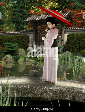 Young Japanese Woman in Pink Kimono with Parasol Standing in a Garden - Stock Image