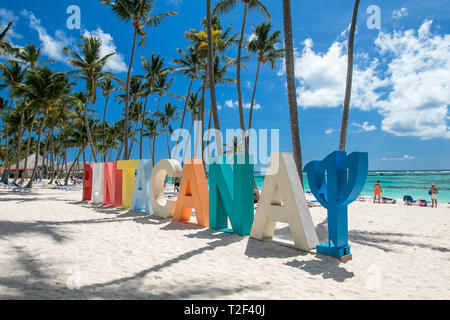 Punta Cana, Dominican Republic 3/19, 2019: Punta Cana Club Med sign is placed on the beach of the resort. - Stock Image