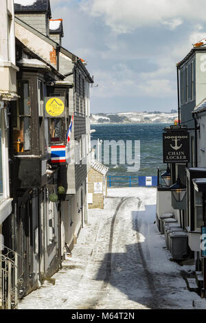Falmouth town in the snow - Stock Image