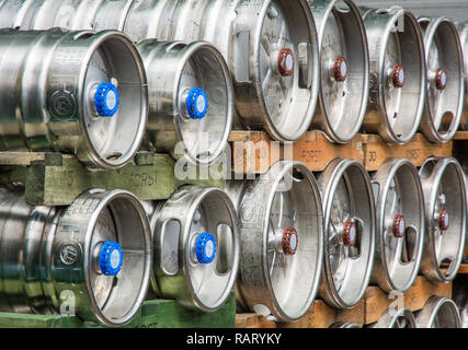 Beer barrels.The Forst brewery, founded in 1857, is known as one of the largest breweries in the whole of Italy. Lagundo - Bolzano, South Tyrol, Italy - Stock Image