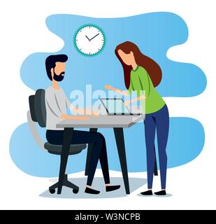 businesswoman and businessman with laptop technology and clock - Stock Image