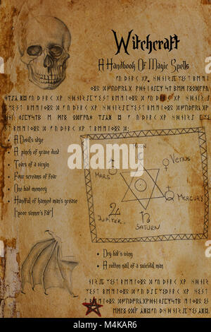 Page from Witch's grimoire. Drawings of human skull, bat's wing, the Seal of Solomon, planetary signs, pentagram. - Stock Image