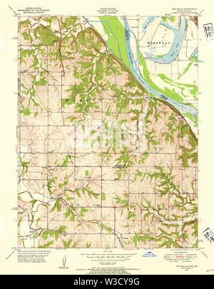 USGS TOPO Map Kansas KS Oak Mills 801913 1948 24000 Restoration - Stock Image