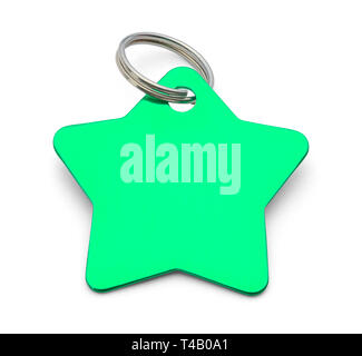 Blank Green Star Dog Tag Isolated on White Background. - Stock Image