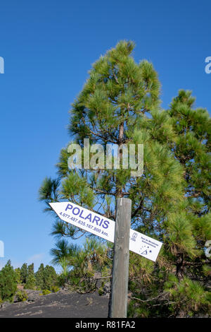 Astrology sign pointing the direction to the Polaris star at Mirador del Llano del Jable, La Palma Island, Canaries, Spain - Stock Image