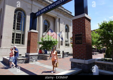 Entrance to the Old Town pedestrian mall, Winchester, Virginia, which dates back to 1752 - Stock Image