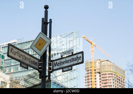 Germany, Berlin. Street signs and building construction. Credit as: Wendy Kaveney / Jaynes Gallery / DanitaDelimont.com - Stock Image