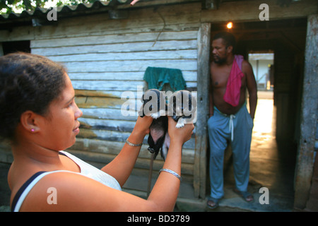 Cuba Manicuragua Woman with puppies outside wooden hut Photo CUBA0954 Copyright Christopher P Baker - Stock Image