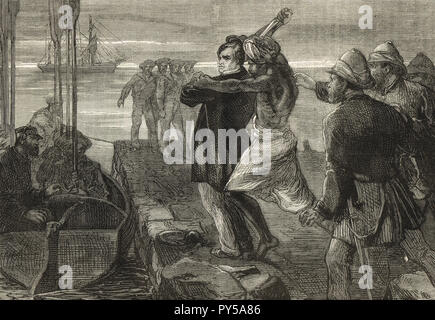 The Assassination of the Earl of Mayo, Viceroy of India, while visiting the convict settlement at Port Blair in the Andaman Islands, on 8 February 1872.  Assassinated by Sher Ali Afridi an Afridi Pathan convict. - Stock Image