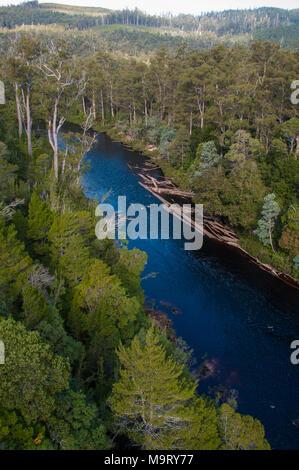 Huon River at Tahune AirWalk, Tahune Forest Reserve, Geeveston, southern Tasmania - Stock Image
