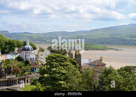 Portmeirion is a tourist village in North Wales styled in an Italian design by Sir Clough Williams-Ellis. It is now owned by a charitable trust. - Stock Image