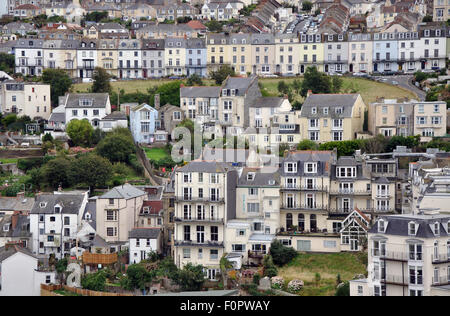 view of housing on a hillside, Ifracombe, Devon, England, UK - Stock Image