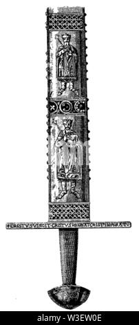 Insignia and coats of arms. Sword of Saint Mauritius, ,  (cultural history book, 1875) - Stock Image