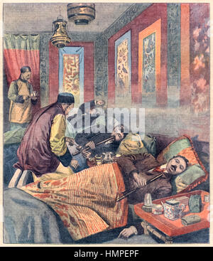 'Opium smoking in France' front cover illustration of an opium den in France from 'Le Petit Parisien' 1907 discussing - Stock Image