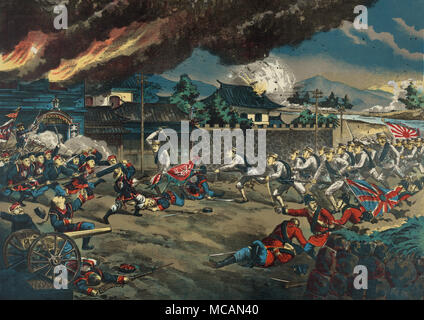 British and Japanese troops engaging Boxer forces at Tianjin, China. - Stock Image