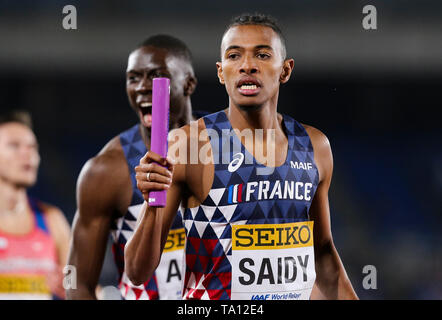 YOKOHAMA, JAPAN - MAY 12: Fabrisio Saidy of France during Day 2 of the 2019 IAAF World Relay Championships at the Nissan Stadium on Sunday May 12, 2019 in Yokohama, Japan. (Photo by Roger Sedres for the IAAF) - Stock Image