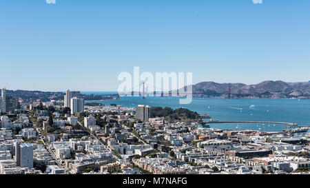 Vistas of the Marina district, and Golden Gate bridge from the vantage point of Coit Tower, situated in Telegraph - Stock Image