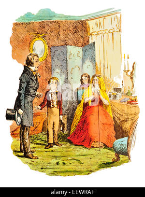 Pip presents Joe to Miss Havisham Charles Dickens Great Expectations wealthy spinster ruined mansion Estella - Stock Image