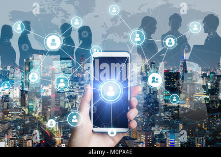 Business network concept. Social networking. Crowd sourcing. - Stock Image