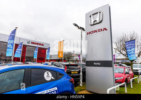 Honda car dealer dealership garage forecourt car sales selling cars new Honda cars for sale UK England - Stock Image