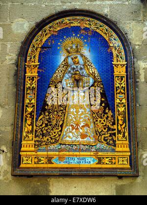 A religious mosaic in Jerez - Stock Image