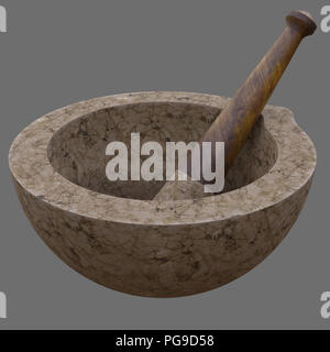 Pestle and Mortar for Alchemy Experiments or Cookery - Stock Image