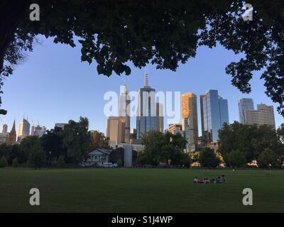 Melbourne skyline in summer from parklands - Stock Image