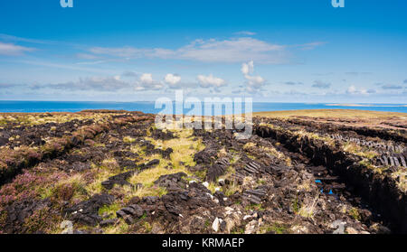 Peat bog with sods of cut turf for fuel left out to dry near Bloody Foreland, County Donegal, with Tory Island in - Stock Image