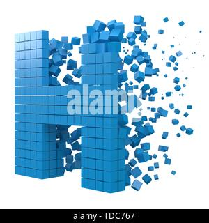 letter H shaped data block. version with blue cubes. 3d pixel style vector illustration. suitable for blockchain, technology, computer and abstract th - Stock Image