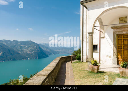 Santuario della Madonna della Ceriola, a small chapel at the top of the Island of Monte Isola overlooking Lake Iseo - Stock Image