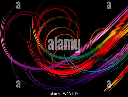 Black background is covered with bright swirling rainbow stripes in  purple, orange,red, yellow, green and blue  shades - Stock Image