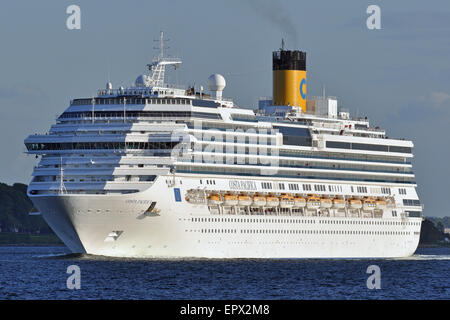 Costa Pacifica leaving the port of Kiel. - Stock Image