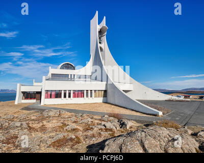 16 April 2018: Stykkisholmur Church, Snaefellsness Peninsula, West Iceland - A church which is also used as a concert hall. - Stock Image