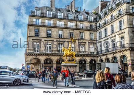 Jeanne d'Arc, a gilded bronze equestrian sculpture of Joan of Arc by Emmanuel Frémiet in the Place des - Stock Image