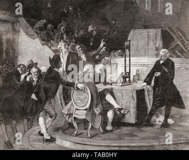 Doctor Guillotine demonstrates a model of his device used to carry out death penalties in France.  Dr. Joseph-Ignace Guillotin, 1738 – 1814.  French physician, politician, freemason.  Although not the inventor of the guillotine his name became an eponym for it.  From La Ilustracion Iberica, published 1884. - Stock Image