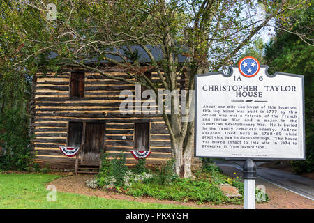 JONESBOROUGH, TN, USA-9/29/18:   Christopher Taylor log house, built in 1777.  Andrew Jackson lived here while practicing law in Jonesborough. - Stock Image