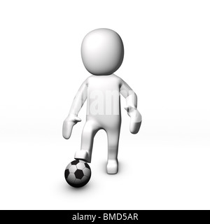 3D football player with ball on his feet - Stock Image