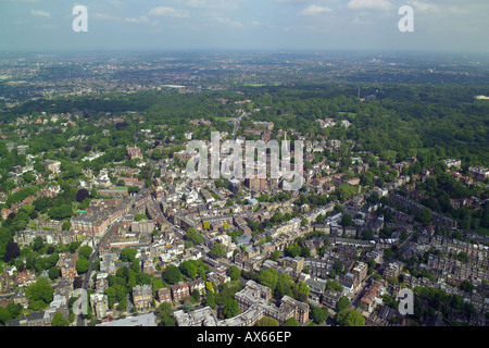 Aerial view of Hampstead with Hampstead Heath in the background - Stock Image