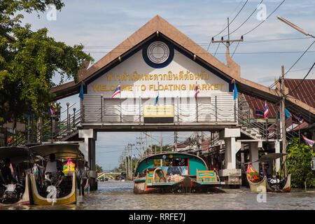 Entry Gate to the Floating Market of Damnoen Saduak, Ratchaburi, Thailand. - Stock Image