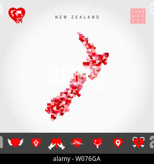 I Love New Zealand. Red and Pink Hearts Pattern Map of New Zealand Isolated on Grey Background. Love Icon Set. - Stock Image