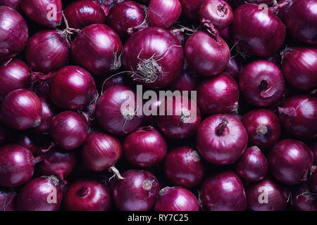 Full Frame Shot Of Purple Onions. Fresh purple onions as a background. - Stock Image