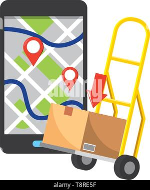 pushcart with box and cellphone with location pointer and download arrow vector illustration graphic design - Stock Image