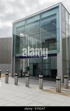 The entrance to Paddington Station from Paddington Basin, London, England, UK - Stock Image