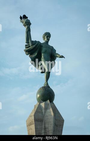 The Liberty statue in the main square of the city of Trujillo in La Libertad region of Peru - Stock Image