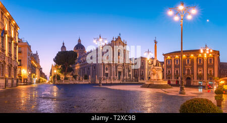 Panoramic aerial view of Piazza Duomo in Catania with the Cathedral of Santa Agatha and Liotru, symbol of Catania in the morning, Sicily, - Stock Image