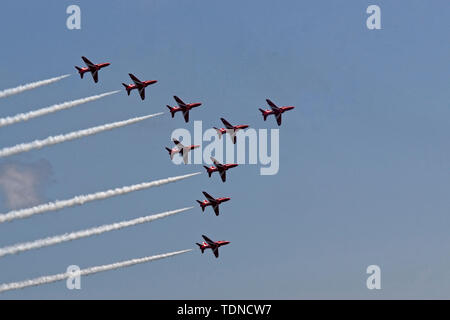 Red Arrows Diamond 9 formation - Stock Image