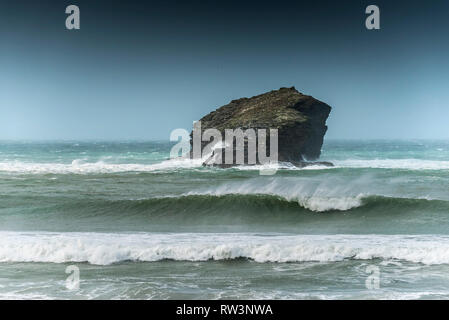 The rugged Gull Rock off the coast of Portreath in Cornwall. - Stock Image